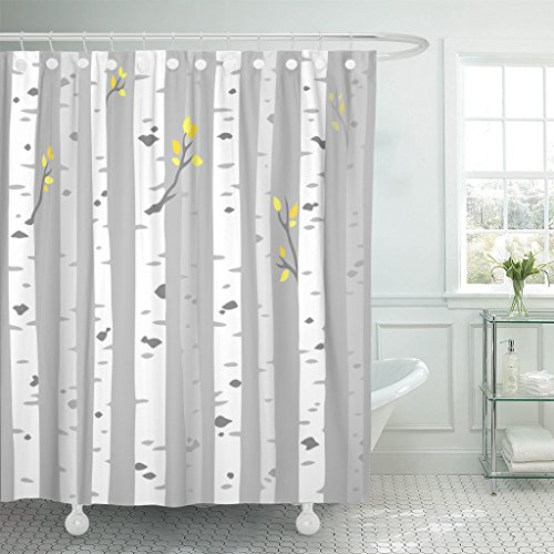 Set Tree Grove - TOMPOP Shower Curtain Abstract Aspen Birch Grove Tree Trunks on Gray Simple Waterproof Polyester Fabric 72 x 72 Inches Set with Hooks