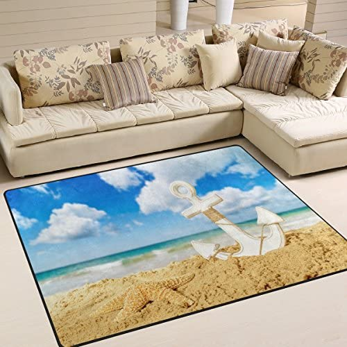 ALAZA Summer Starfish Anchor on Beach Area Rug Rug