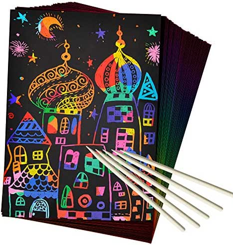 ZMLM Scratch Art Set, 50 Piece Rainbow Magic Scratch Paper for Kids Black Scratch Off Art Crafts Notes Boards Sheet with 5 Wooden Stylus for Christmas Party Birthday GameGift