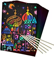 ZMLM Scratch Art Set, 50 Piece Rainbow Magic Scratch Paper for Kids Black Scratch Off Art Crafts Notes Boards Sheet with 5 W