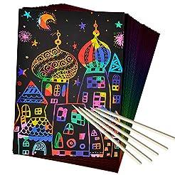 ZMLM Scratch Art Set, 50 Piece Rainbow M...