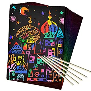 ZMLM Scratch Paper Art Set, 50 Piece Rainbow Magic Scratch Paper for Kids Black Scratch it Off Art Crafts Notes Boards Sheet with 5 Wooden Stylus for Easter Party Game Christmas Birthday Gift