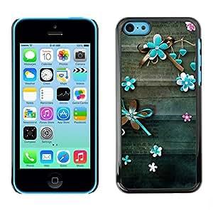 FECELL CITY // Duro Aluminio Pegatina PC Caso decorativo Funda Carcasa de Protección para Apple Iphone 5C // Teal Lines Floral Rustic Wood