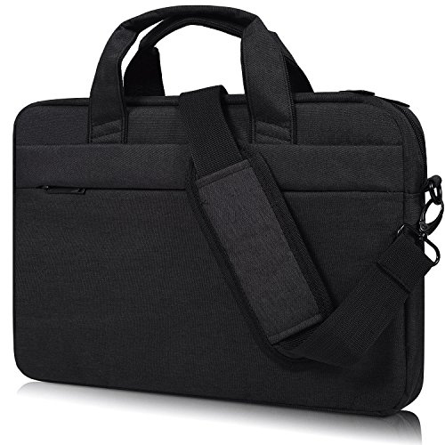 ulder Bag, Waterproof Multi-functional Fabric Laptop Sleeve Bag Case with Carrying Strap for Acer Chromebook 15, Dell Inspiron, Asus Dell Lenovo Toshiba HP Chromebook, Black ()