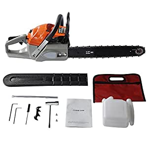 """Oanon 20"""" 62cc 4.2HP petrol Chain Saw with chainsawBar Cover, Tool Kit, Fuel Mixing Bottle, Manual (62cc)"""