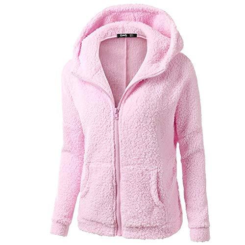 Whear Women Plush Sweater Coat Fashion Winter Hooded Zipper Closure Warm Wool Jacket Outwear with 2 Side-Seam Pockets
