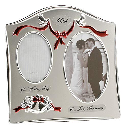 Two Tone Silver Plated 40th Ruby Anniversary Double Picture Frame By Haysom Interiors