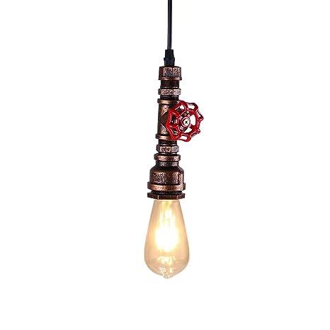 KAWELL Industrial Vintage Lámpara Colgante Luz de Tubo de Agua ...