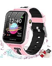 Smooce smartwatch kind Telefoon,kids smartwatch Muziekspeler met Sd-kaart 7 Puzzel Games Call SOS Camera Alarm Recorder Calculator Mp3 voor Verjaardag Speelgoed Kinderen Jongens Meisjes (pink)