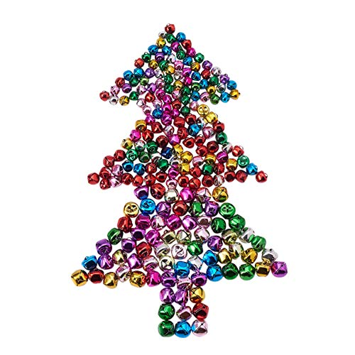 - 300 Pieces Party Jingle Bells Mini Small Bells Loose Beads Charms Assorted Colors (10 mm, 12cm,15 mm)