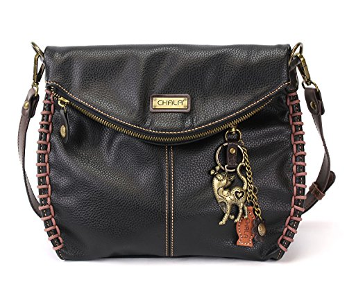 Chala Charming Crossbody Bag With Flap Top | Flap and Zipper Black Cross-Body Purse or Shoulder Handbag with Metal Chain - Slim Cat (Flap Coin Purse)