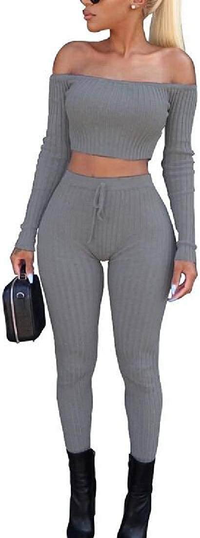 Spirio Women 2 Pieces Outfits Knitted Off The Shoulder Club Crop Top Leggings Set