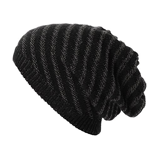 SIGGI Mens Wool Knit Slouch Beanie Hat Cap Winter Thick Two-Layer Warm