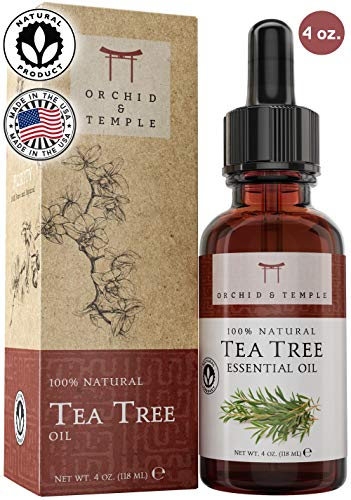 100% Pure Therapeutic Grade Tea Tree Essential Oil 4oz. Orchid and Temple is MADE IN THE USA. Undiluted Melaleuca Alternifolia. Sooth Sore Throat, Natural Deodorant, Soothing Bath
