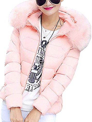 Manteau Rose Capuche Femme Avec Hiver Chaud Fausse Courte Ciaociao gq8xZwIw