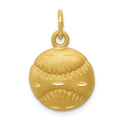 14k Yellow Gold Baseball Pendant Charm Necklace Sport Baseball/softball Man Fine Jewelry Gift For Dad Mens For Him