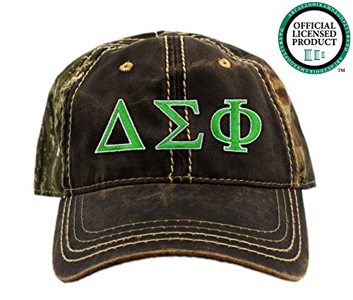 Delta Sigma Phi Embroidered Camo Baseball Hat, Various Thread Colors