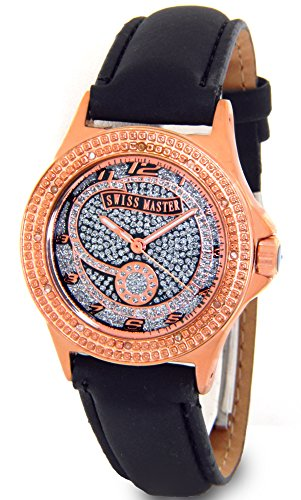 Ladies Swiss Master Genuine Diamond Watch Rose Gold Tone Case Black Leather Band w/ 2 Extra Watch Bands - Ladies Diamond Bezel Leather Band