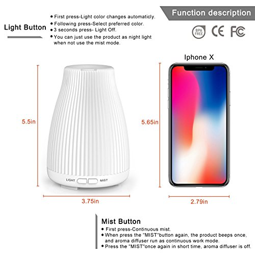 Essential Oil Diffuser, 100ml Cool Mist Aromatherapy Diffuser Humidifier with Changing 8 Color LED Lights,Waterless Auto Shut-off and Adjustable Mist Mode for Home Office Bedroom by Neloodony
