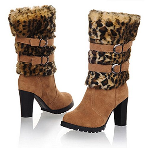 Nonbrand Women's Leopard print winter furry boots block heel shoes Black 39R1KR