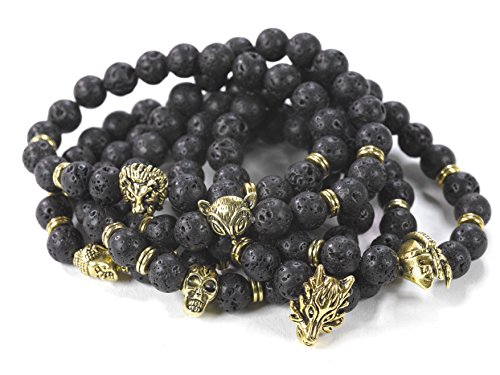 DZG Chakra Bracelet Unisex Black Lava Jewelry Bracelet