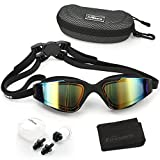 Firesara Swim Goggles, Swimming Goggles UV Protection Anti Fog No Leaking Large Frame Wide View Pool Goggles with Ear Plug Nose Clip & Protective Case for Women Men Adult Youth Kids …