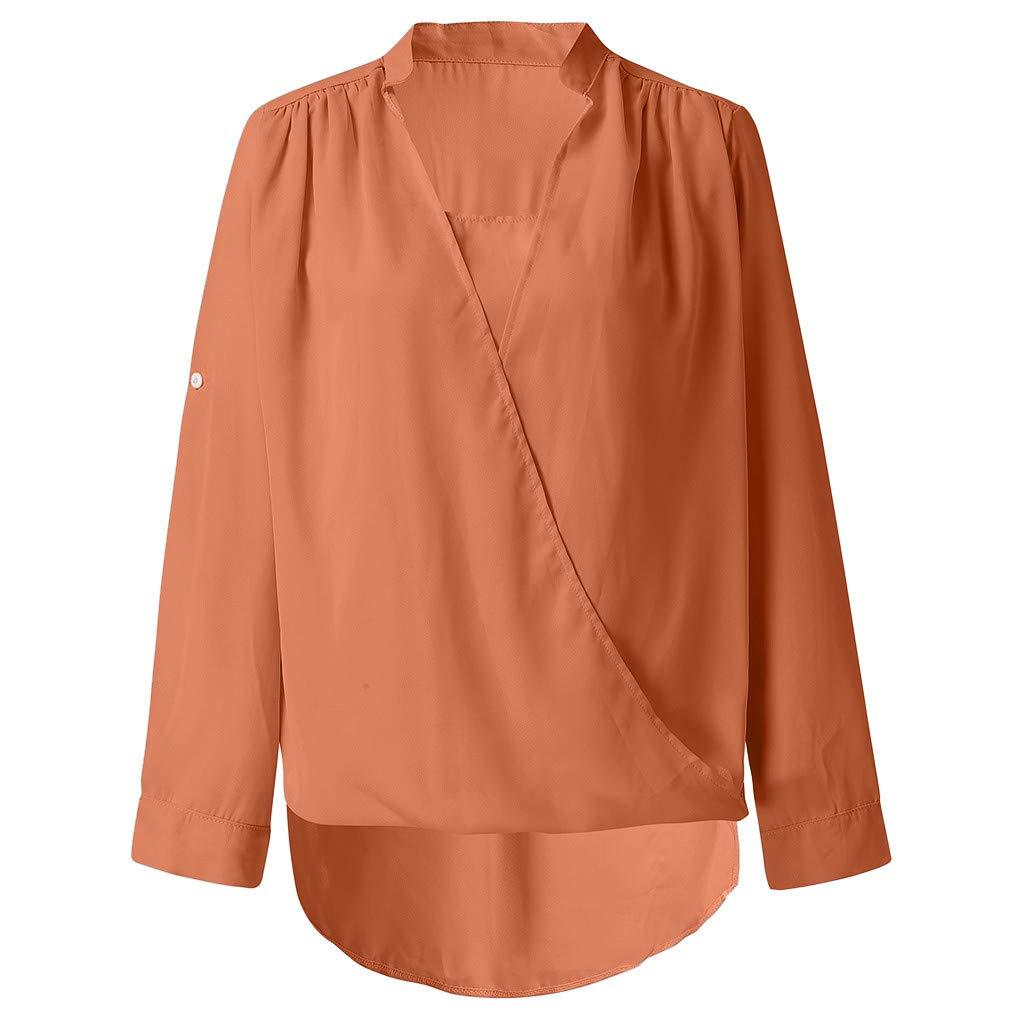 Blouse Womens TUDUZ Ladies Casual Solid V Neck Long Sleeve Tops Ruffles Asymmetrical Hem Tunic Tops Pullover T-Shirt