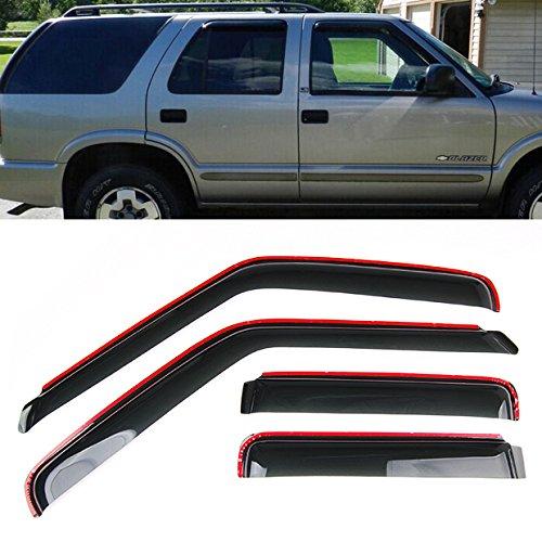 4Pcs IN-CHANNEL Smoke Window Sun Rain Visor Vent Guard Deflector Shade For 1995-2005 Chevy Blazer GMC Jimmy 4DR / 1996-2001 Oldsmobile Bravada