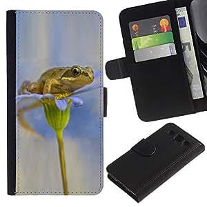 UberTech / Samsung Galaxy S3 III I9300 / Frog Flower White Snow Anemone / Cuero PU Delgado caso Billetera cubierta Shell Armor Funda Case Cover Wallet Credit Card