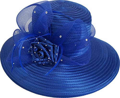 Women's Satin Ribbon Dressy Special Occasion Church Hat (Royal Blue)