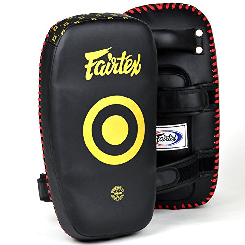 Fairtex KPLC5 Light Weight Thai Kick Pads Boxing Muay Thai Boxing Pads MMA K1 Training Focus Mitts Punch Sold a Pair (Black, 38 x 20 ()