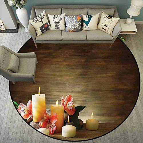 (Non-Slip Round Rugs,Spa,Candles Wellbeing Unity,Rustic Home Decor,3'7