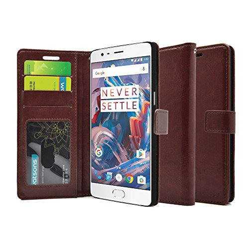 FOSO OnePlus 3 PU Leather Magnetic Flip Cover Wallet Case...