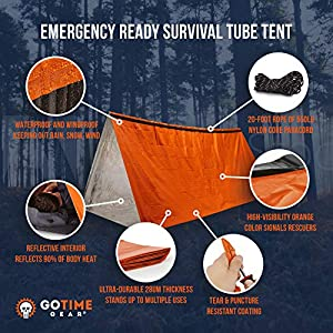 Go Time Gear Life Tent Emergency Survival Shelter – 2 Person Emergency Tent – Use As Survival Tent, Emergency Shelter, Tube Tent, Survival Tarp – Includes Survival Whistle & Paracord