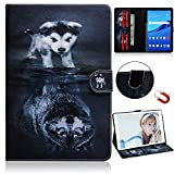 DETUOSI Case for Huawei Mediapad T5 10,[Funny Pattern Series] Huawei Mediapad T5 10 Case,Premium Leather Folio Flip Kickstand [Card Slot] Magnetic Wallet Case for Huawei T5 10.1 inch, Wolf and Dog