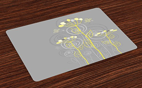 Ambesonne Grey and Yellow Place Mats Set of 4, Under The Sea Inspired Flowers Abstract Swirls Backdrop, Washable Fabric Placemats for Dining Room Kitchen Table Decor, Charcoal Grey and Pale Yellow -