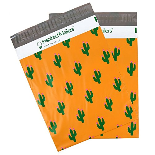 Inspired Mailers Poly Mailers 10x13 Cactus Print – Pack of 100 – Unpadded Shipping Bags
