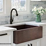 Luxury 33 inch Copper Farmhouse Kitchen Sink, Extra-thick 14-Gauge Pure Solid Copper, Artisan Hammered Finish, Single Bowl with Flat Front, includes Copper Disposal Flange, FSW1100 by Fossil Blu