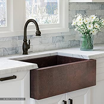 luxury 33 inch copper farmhouse kitchen sink extrathick 14gauge pure solid