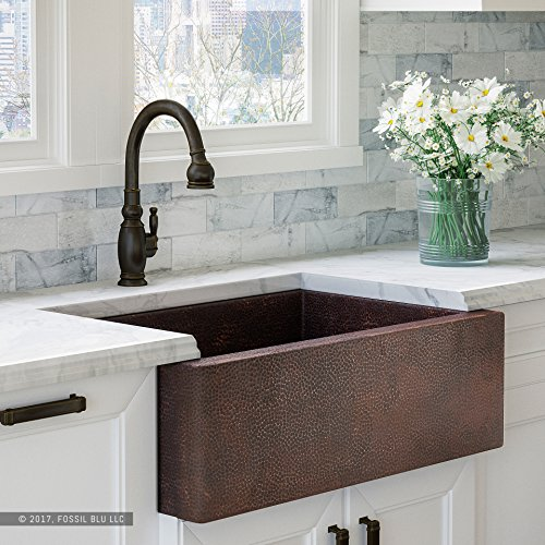 Luxury 33 inch Copper Farmhouse Kitchen Sink, Extra-thick 14-Gauge Pure Solid Copper, Artisan Hammered Finish, Single Bowl with Flat Front, includes Copper Disposal Flange, FSW1100 by Fossil Blu by Fossil Blu (Image #9)
