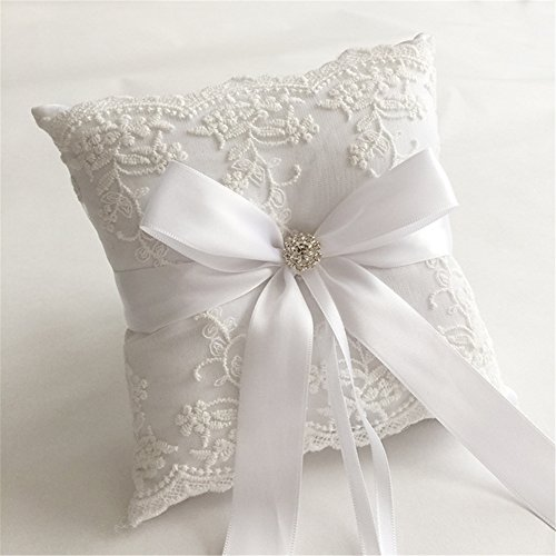 Hoxekle Ivory Satin Flower and Lace Rhinestone Wedding Ring Pillow Cushion Embroider Flower with Bow Ring Bearer for Beach Wedding Ceremony 18×18cm by Hoxekle