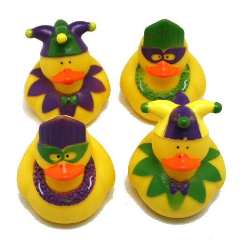 One Dozen (12) Rubber Duckie Ducky Duck MARDI GRAS Party Favors ()
