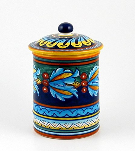 Hand Painted Italian Ceramic 7-inch Canister Geometrico 39E - Handmade in Deruta