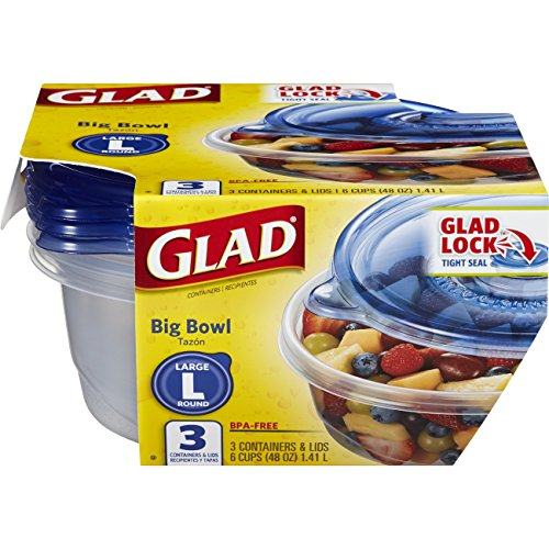 Glad Food Storage Containers - Big Bowl Container - 48 Ounce - 3 Containers - 6 pack