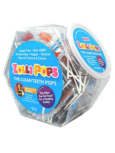 Zollipops The Clean Teeth Pops, Anti Cavity Lollipops, Delicious Assorted Flavors, 150 Count Hexagon Jar