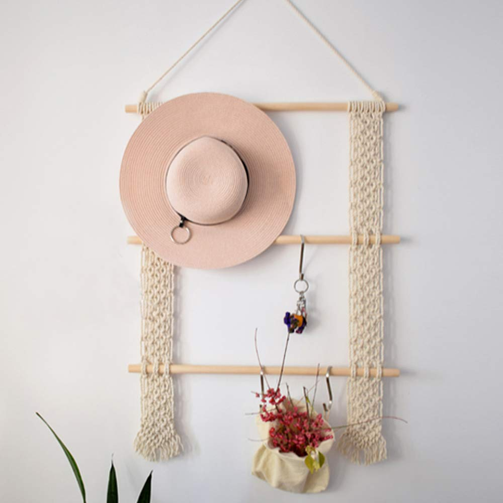LSHCX Handmade Macrame Tapestry Door Wall Hanging Accessory Holder with 3 Hooks - Scarf, Belt, Hat Storage Organizer Rack