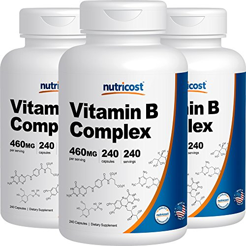 Nutricost High Potency Vitamin B Complex 460mg, 240 Capsules (3 Bottles) - With Vitamin C by Nutricost