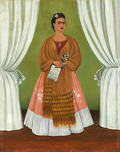 Berkin Arts Frida Kahlo Giclee Canvas Print Paintings Poster Reproduction Large Size(Self Portrait Dedicated to Leon Trotsky)