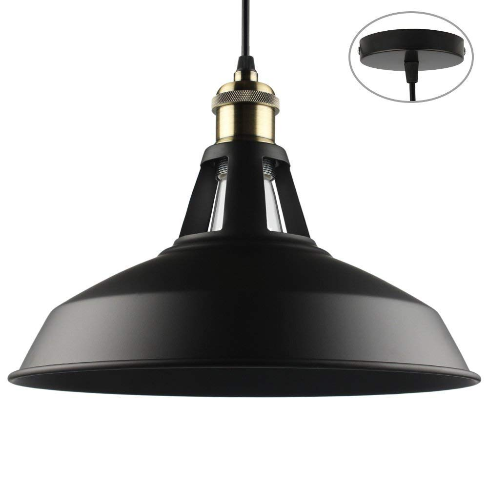 B2ocled Retro Industrial Black Pendant Lighting,Small Barn Farmhouse Pendant Light for Kitchen Island, Metal Aluminum Shade Ceiling Hanging Lights, 10.63 In diameter,1-Light