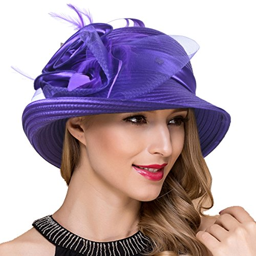 Women Kentucky Derby Church Dress Cloche Hat Fascinator Floral Tea Party Wedding Bucket Hat S052 (S608-Purple) (Kentucky Oaks Derby)